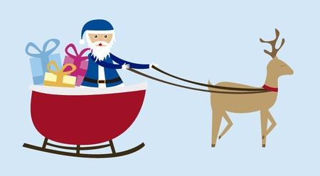 christmas sleigh: sleigh cartoon  isolated over blue background. vector