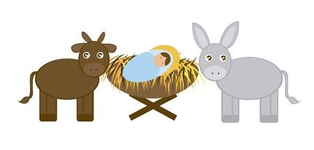 당나귀와 흰색 배경 위에 절연 황소와 아기 예수. 벡터 일러스트