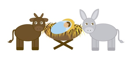 in ox: Baby Jesus with Donkey and ox isolated over white background. vector