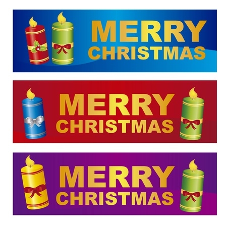 christmastide: merry christmas labels with candles, colorful. vector