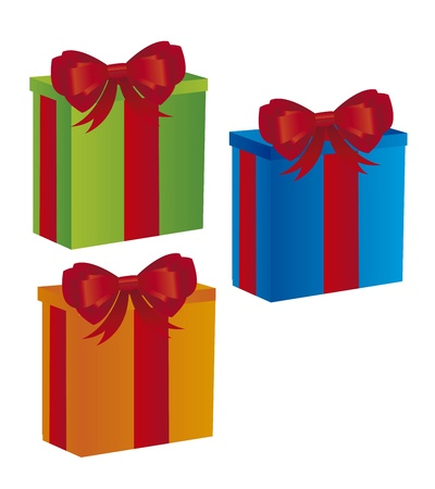 colorful gifts with bow isolated over white background. vector Stock Vector - 11107690