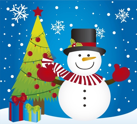 snowman and tree christmas over snow card. vector Vector