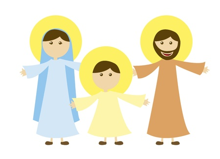 vierge marie: Vierge Marie et St. Joseph avec J�sus isol�s. vectoriel Illustration