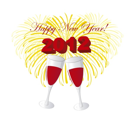 wine glasses, happy new year 2012 over white background. vector Vector