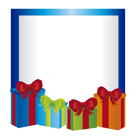 blank card with gifts over white background. vector Stock Vector - 11107705