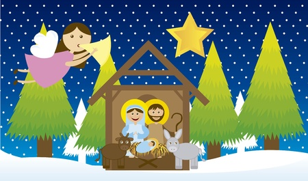 stables: manger with angel and tree over snow, night. vector Illustration