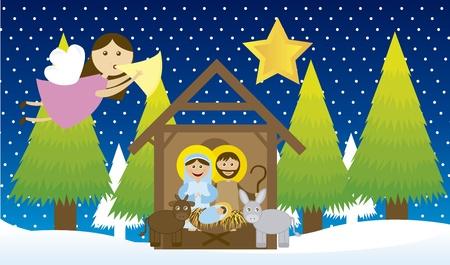pesebre: Pesebre con angel y �rbol sobre nieve, noche. Vector