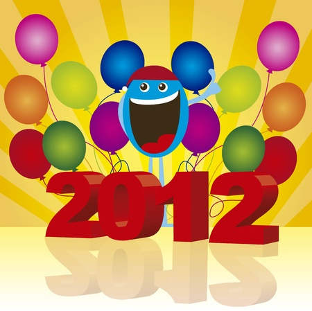 2012 with happy face and balloons over yellow background. vector Vector