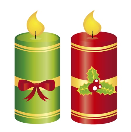 candle christmas with bow and leaf isolated. vector Vector