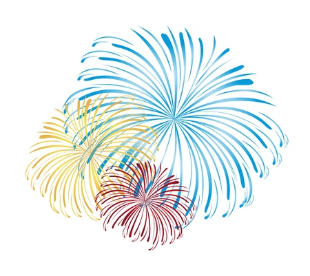 christmas in july: blue, yellow and red fireworks isolated white background. vector Illustration