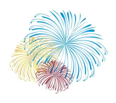 tűzijáték: kék, sárga és piros tűzijáték elszigetelt fehér háttérrel. vektor Illusztráció