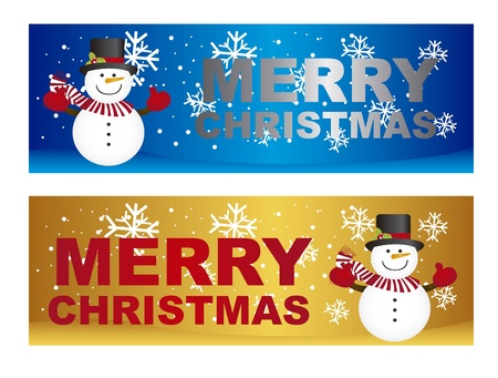 christmastide: snowman on snow with snowflakes, two labels. vector