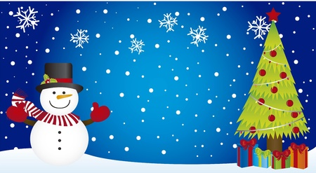 snowman with tree christmas on snowman, christmas. vector Vector