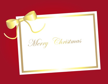 gold blank card christmas over red background. vector Vector
