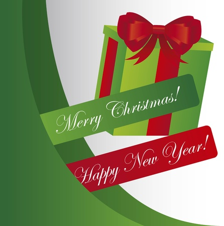 green christmas background with gift. vector Stock Vector - 11107716