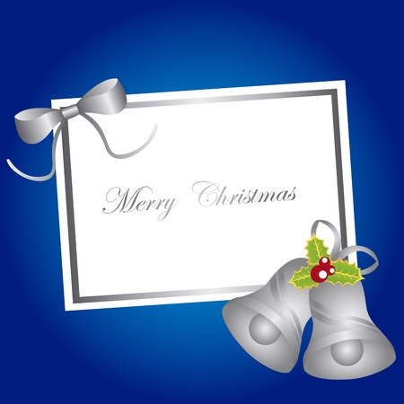 silver bells: blank card christmas with bells over blue background. vector