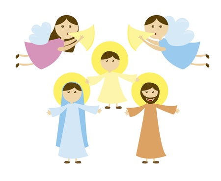 holy family: Holy Family of Nazareth with angels, card. vector Illustration