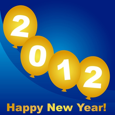 graduation countdown: 2012 on gold balloon over blue background, vector
