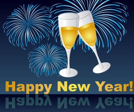 wine glasses on fireworks, happy new year. vector Vector