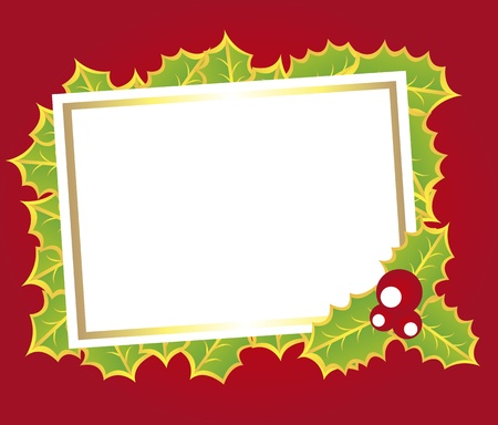 blank card christmas with leaff over red backgroud. vector Vector