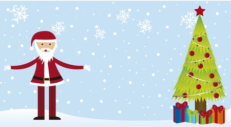 santa claus on snow, with tree and gift,card. vector Vector