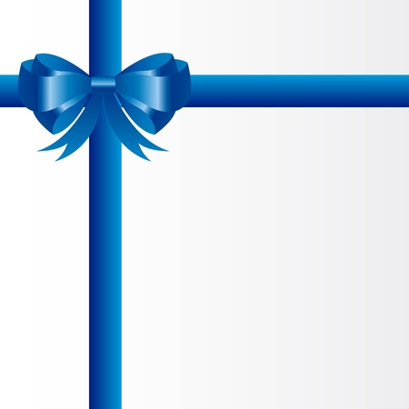 blue ribbon: blue gift bow over white background, blank card. vector Illustration