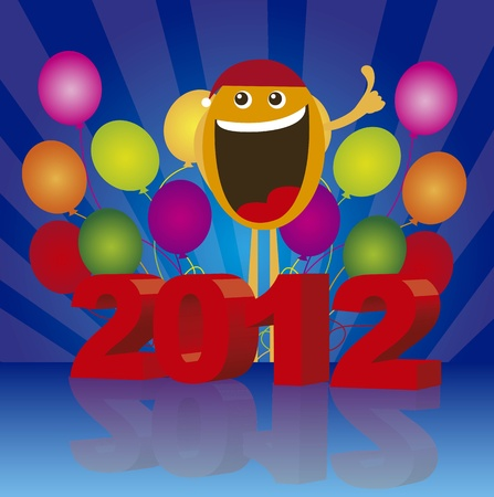2012 with happy face on balloons background. vector Vector