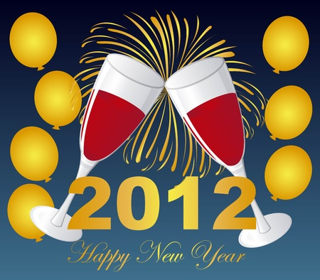 wine glasses on fireworks with balloons, 2012 new year. vector Vector