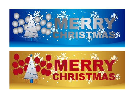 christmastide: merry christmas labels with tree and balloons. vector Illustration