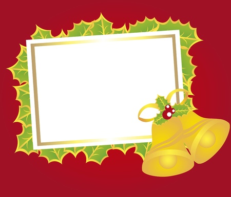 blank card christmas with bells over red background. vector  Vector