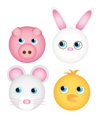 cute animals faces isolated over white background. vector Vector