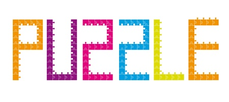 colorful puzzles text isolated over white background. vector Stock Vector - 11309464