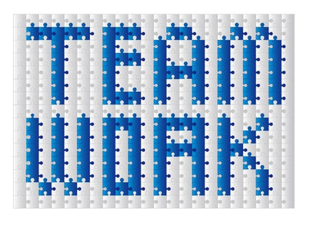conceptual teamwork with puzzles over white background. vector Stock Vector - 11309539