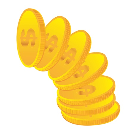 yellow coins isolated over white background. vector Vector