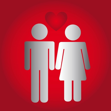men and women sign with heart over red background. vector Vector