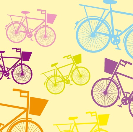 pink bike: cute bicycle over beige background. vector illustration