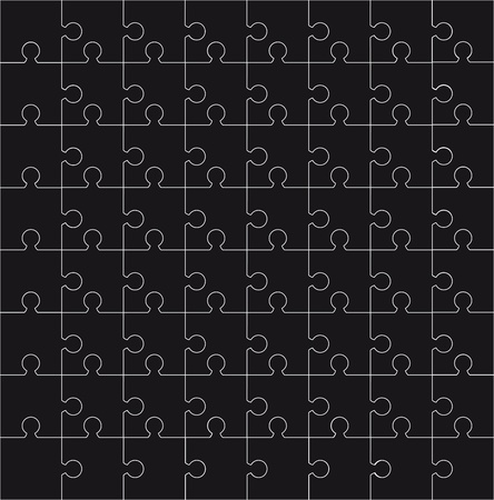 black puzzles with 72 pieces  background. vector illustration Stock Vector - 11309522