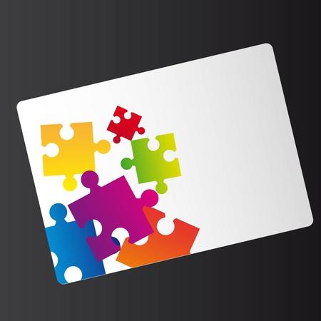 puzzle piece: tarjeta de rompecabezas aislados sobre fondo blanco. vector Vectores