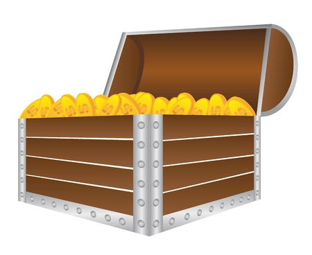 wooden trunk with gold coins isolated over white background. vector Vector