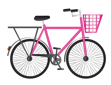 gir: pink bicycle isolated over white background. vector