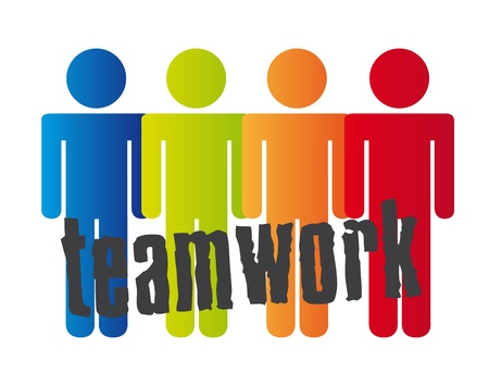 linked hands: conceptual teamwork with men sign over white background. vector