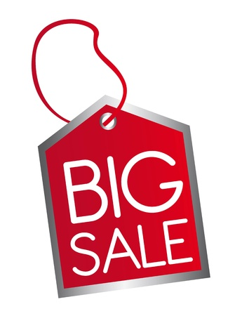 bargain price: red big sale tag isolated over white background. vector
