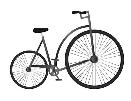 circus bike: vieja bicicleta negro aislado sobre fondo blanco. vector Vectores