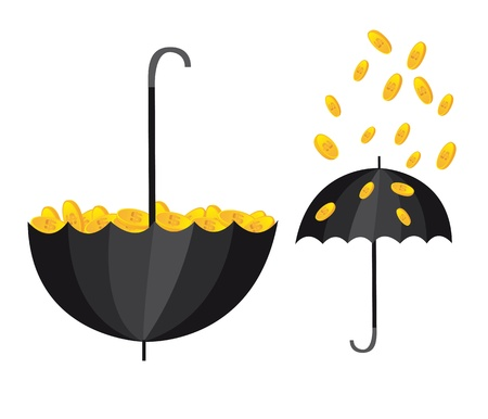 conceptual illustration with umbrella and coins. vector Vector