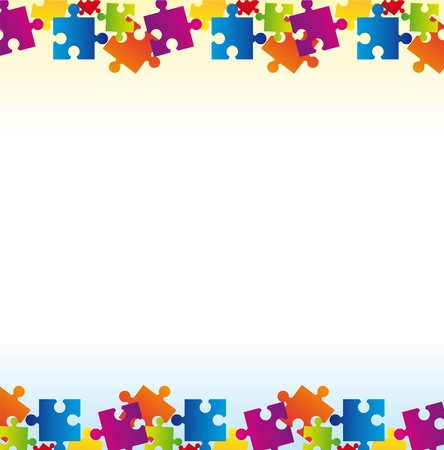 colorful puzzles background with copy space. vector illustration Vector