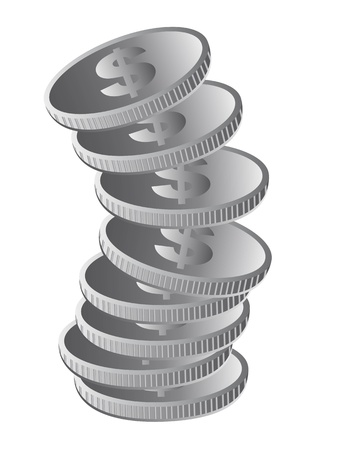silver coins isolated over white background. vector Vector