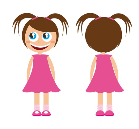 caricature: cute child girl with pink dress over white background. vector