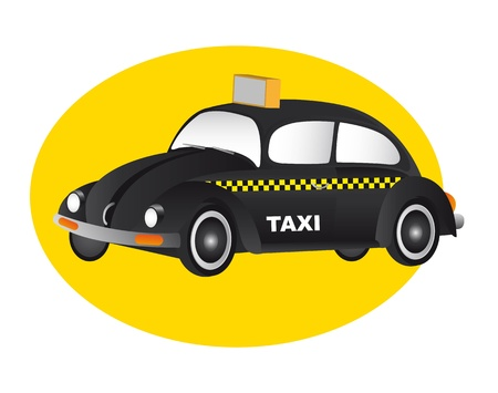 speedster: taxi black car over yellow circle. vector illustration
