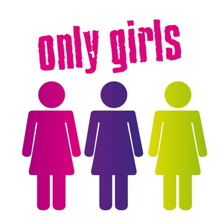 colorful only girls sign isolated over white background. vector Stock Vector - 11309549