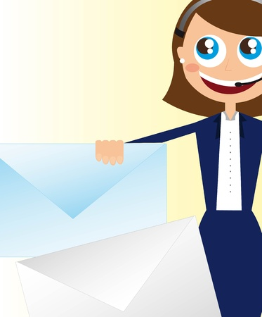 receptionist with envelope, close up. vector illustration Stock Vector - 11309541